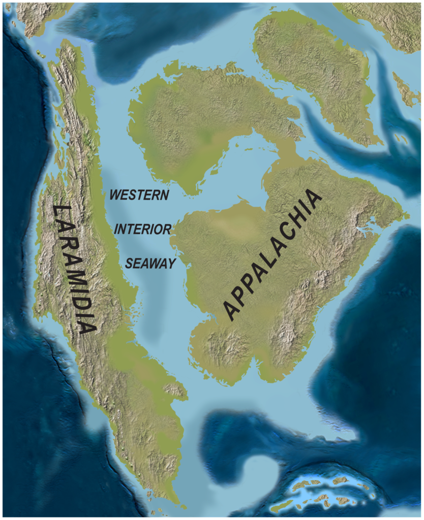 Paleogeography of North America during the Late Cretaceous (∼75 Ma)