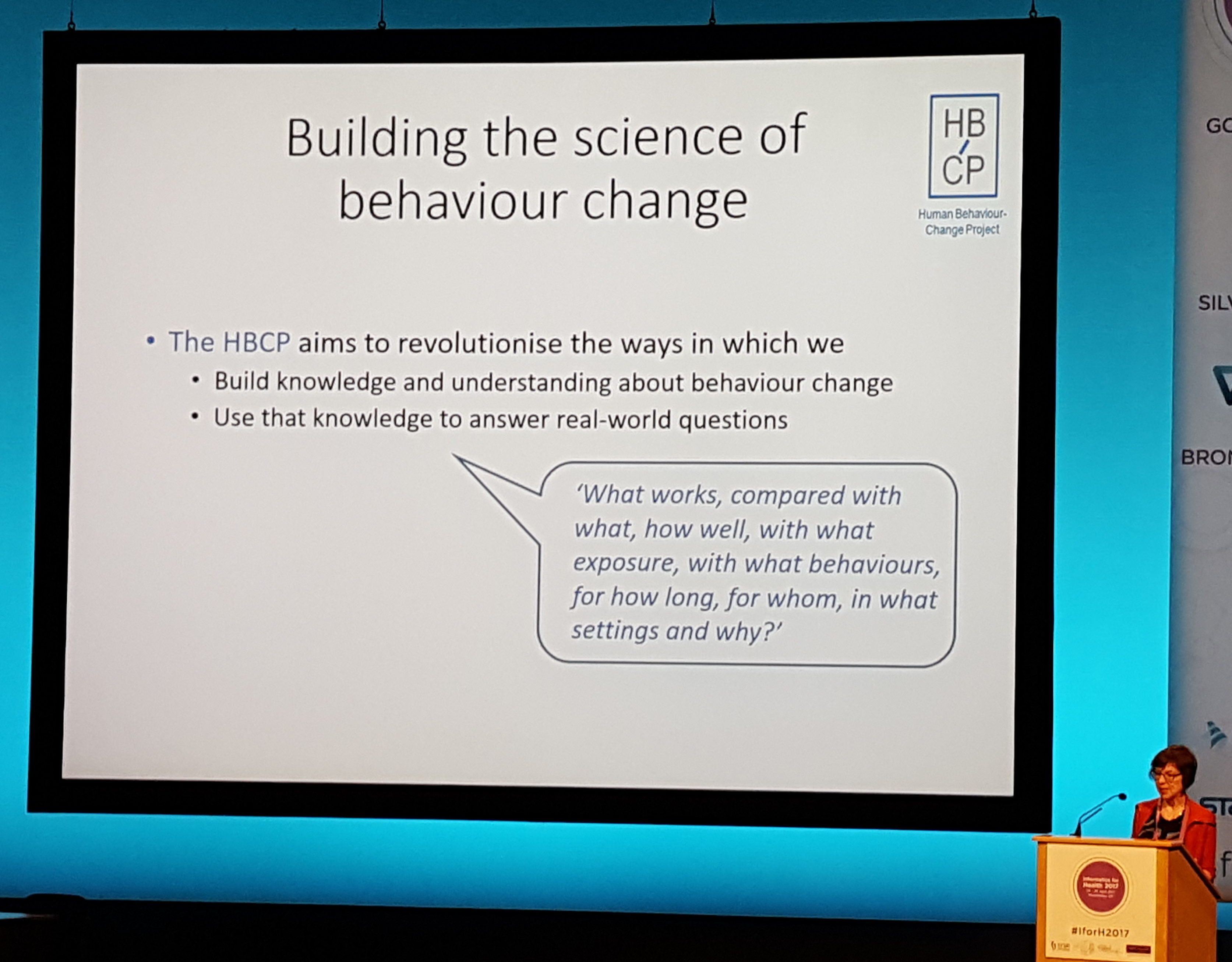 Susan Michie, University College London talks about the Human Behavior-Change Project