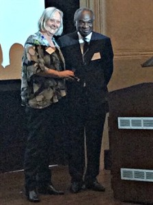 Dr Anarfi Asamoa-Baah, Deputy Director General of WHO being awarded the Leverhulme medal.