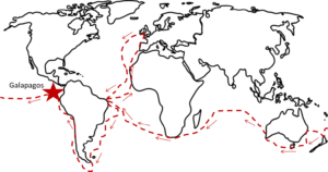 """Artistic"" rendering of Darwin's Route. Note: The Galapagos islands take up about 3000 square miles and are not as depicted here, the size of Alaska!"