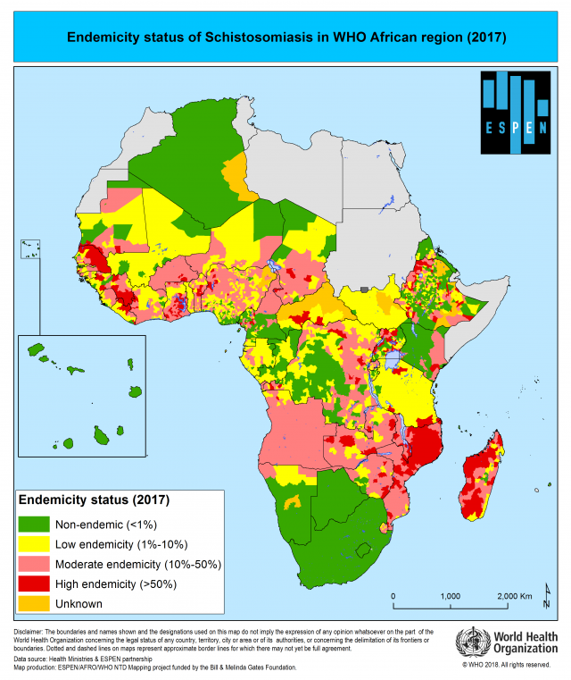 This is a map of the African continent showing the level of chistosomiasis endiemicity in different areas of endemic countries. Copyright WHO