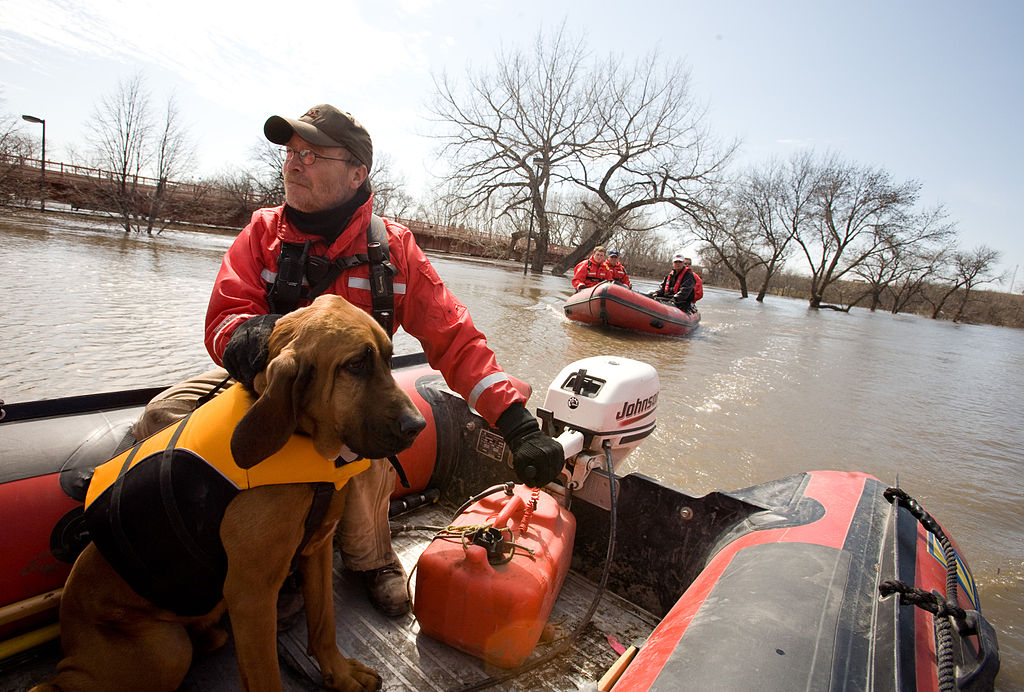 "Valley Water Rescue member, Mike Knorr and search dog, ""Barnaby"" – image from FEMA Photo Library"