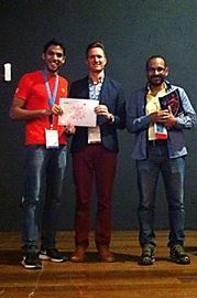 One of the award winners with myself, Ben Johnson, and Bergmann Ribeiro, President of the Brazilian Society of Virology