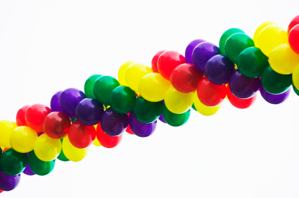 Multicolored spiral of balloons