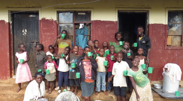 Orphanage in Kampala, Uganda with their home-produced probiotic Yoba yoghurt