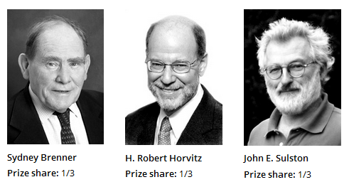 """Nobel Prize 2002. """"for their discoveries concerning genetic regulation of organ development and programmed cell death'"""""""