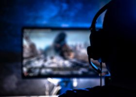A person taking part in an online video game