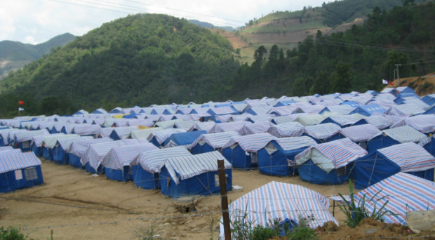 A camp for refugees from Myanmar on China side along the China-Myanmar border