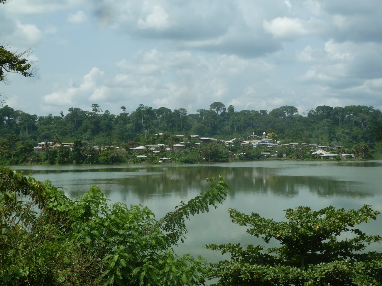 A view of the central island with its associated village within Lake Barombi Kotto