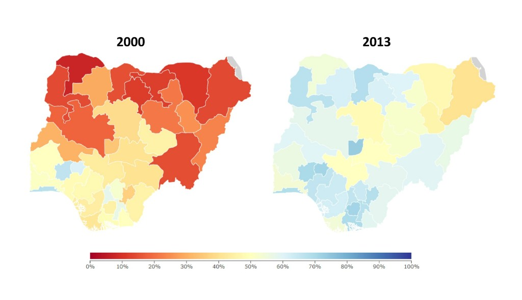 Coverage of three doses of oral polio vaccination (OPV3), 2000 and 2013