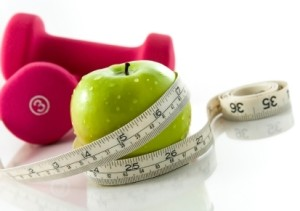 Weights and an apple