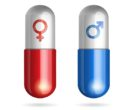 Blue and red pills with male female symbols