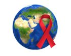 World AIDS Day Awareness Globe Red Ribbon Isolated