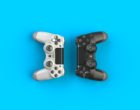 Computer game competition. Gaming concept. White and black joystick isolated on blue background, 3D rendering