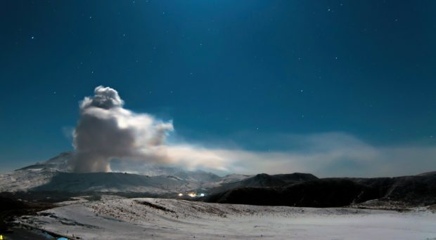 Mount Aso in Japan erupting at night