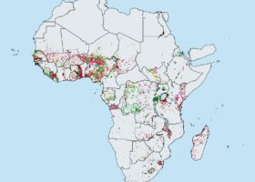 Figure 1: Distribution of S. haematobium in Africa in 2018 as reported by the Expanded Special Project for Elimination of Neglected Tropical Diseases (ESPEN). Green = prevalence
